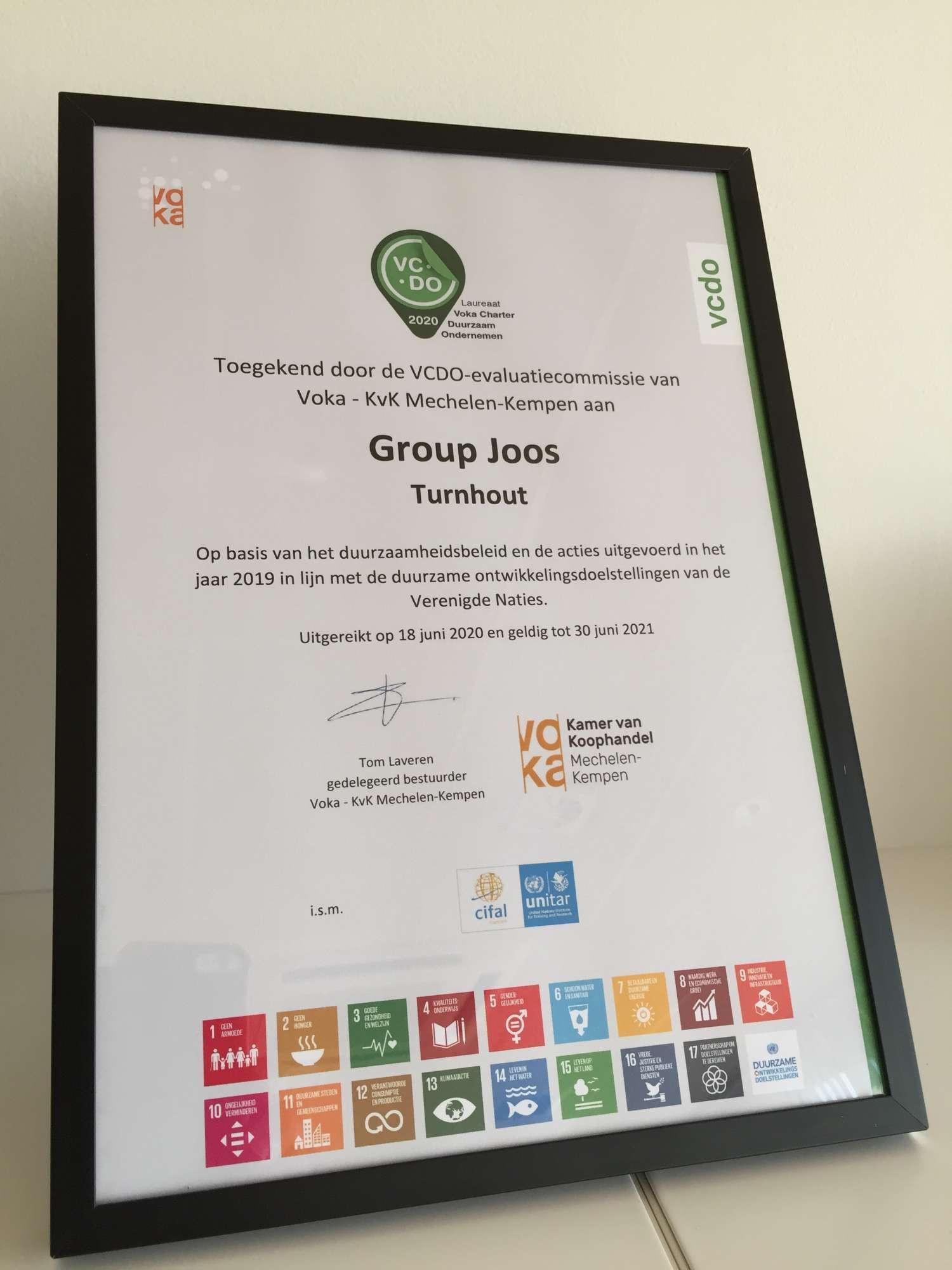 diploma duurzaam ondernemen Voka Charter