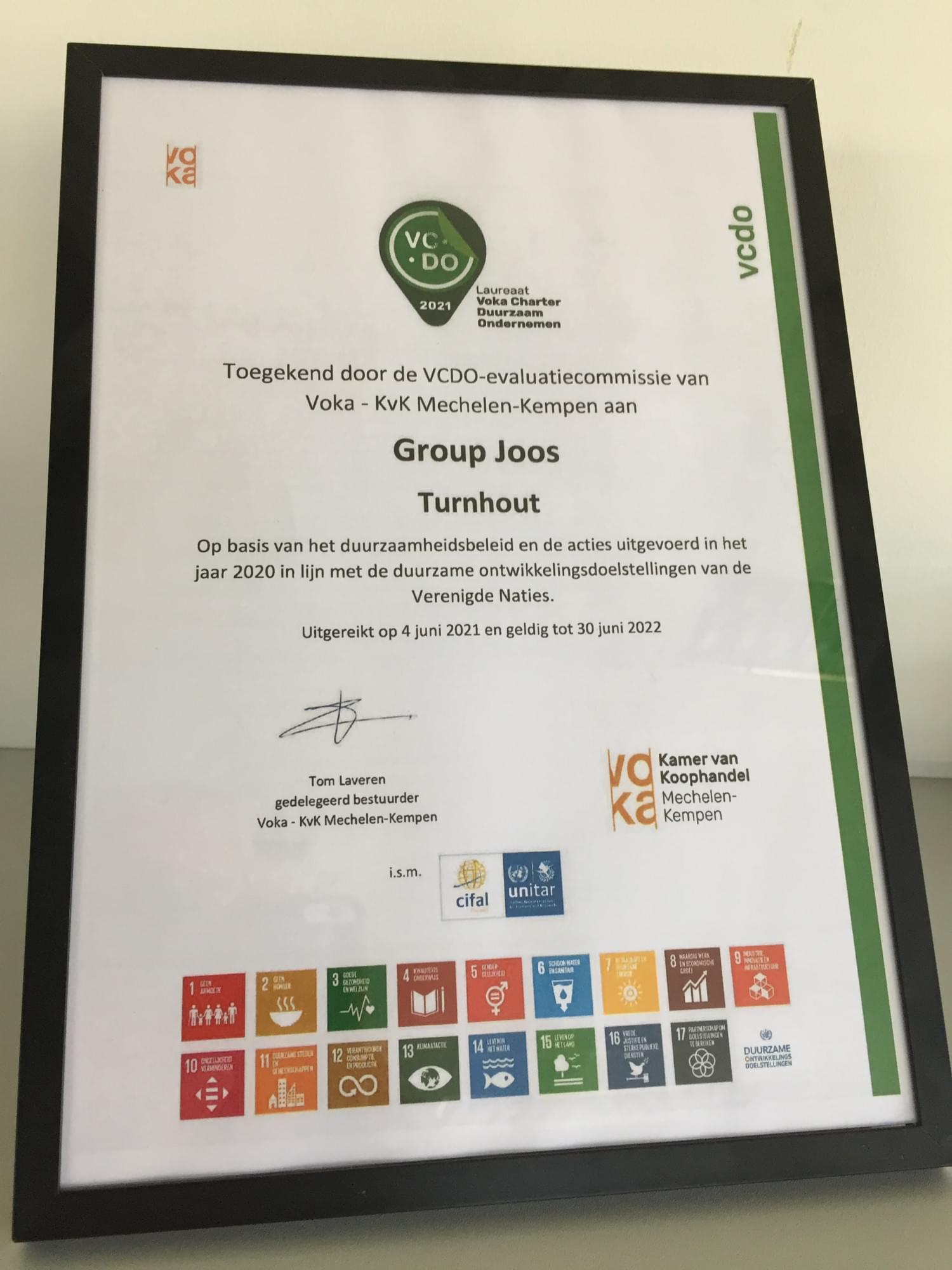 Group Joos Voka Charter SDG Duurzaam Ondernemen 2021